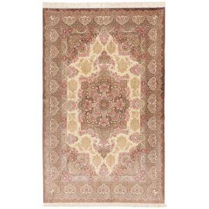 Handknuten. Ursprung: Persia / Iran Ghom Silke Signerad: Rezai Matta 130X203 Mörkbeige/Ljusbrun (Silke, Persien/Iran)