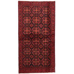 Handknuten. Ursprung: Persia / Iran Beluch Matta 100X190 Äkta Orientalisk Handknuten Mörkröd/Mörkbrun (Ull, Persien/Iran)