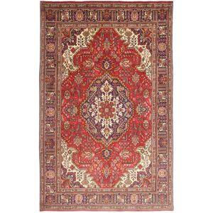 RugVista Tabriz Matta 195X308 Äkta Orientalisk Handknuten Mörkröd/Roströd (Ull, Persien/Iran)