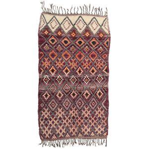 Handknuten. Ursprung: Morocco Handknuten Matta Berber Moroccan - Mid Atlas 214X385 Mörkbrun/Mörklila (Ull, Marocko)