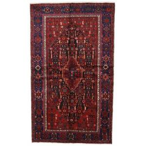 Handknuten. Ursprung: Persia / Iran Äkta Matta Hamadan 142X235 Mörkröd/Mörkbrun (Ull, Persien/Iran)