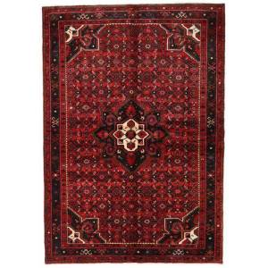 Handknuten. Ursprung: Persia / Iran Handknuten Matta Hosseinabad 155X223 Mörkröd/Mörkbrun (Ull, Persien/Iran)