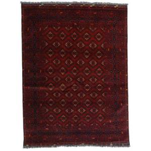 Handknuten. Ursprung: Afghanistan Kunduz Matta 147X192 Mörkröd (Ull, Afghanistan)