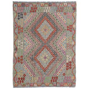 Handknuten. Ursprung: Afghanistan Äkta Matta Kelim Afghan Old Style 174X233 Ljusgrå/Mörkgrå (Ull, Afghanistan)