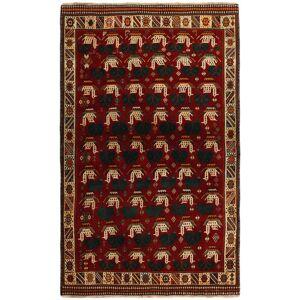 Handknuten. Ursprung: Persia / Iran 118X194 Orientalisk Ghashghai Matta Röd/Mörkröd (Ull, Persien/Iran)