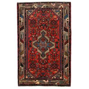 Handknuten. Ursprung: Persia / Iran 77X120 Orientalisk Hamadan Matta Mörkbrun/Mörkröd (Ull, Persien/Iran)