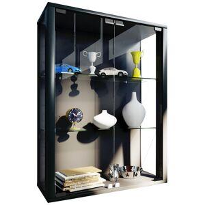 Udina vitrineskab, væghængt 2 glaslåger med LED lys 2 glashylder., sort.