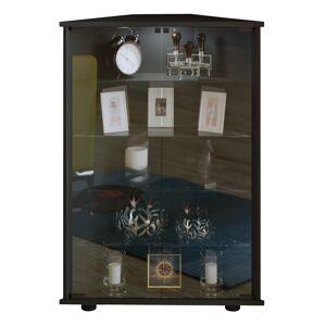 Jecka vitrineskab, hjørneskab med 2 glaslåger, sort.
