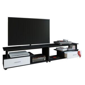Rimini Maxi TV-møbel med 2 skuffer og 4 hyllersvart, hvit.