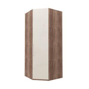 Hörn Atlanta garderob 216 cm, Mörk rustik ek, Magnolia glas