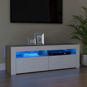 vidaXL TV-bänk med LED-belysning vit och sonoma-ek 120x35x40 cm