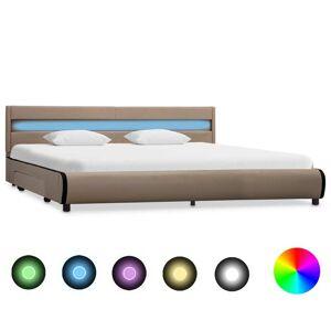vidaXL Sängram med LED cappuccino konstläder 180x200 cm