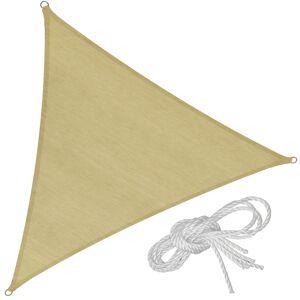 tectake Solsejl trekantet, beige - 360 x 360 x 360 cm