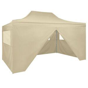 vidaXL Sammenleggbart telt popup med 4 sidevegger 3x4,5 m kremhvit