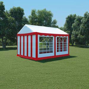 vidaXL Hagetelt PVC 3x4 m rød og hvit