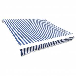 vidaXL Markiseduk 350x250cm blå og hvit