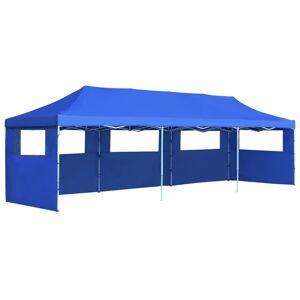 vidaXL Sammenleggbart festtelt popup med 5 sidevegger 3x9 m blå
