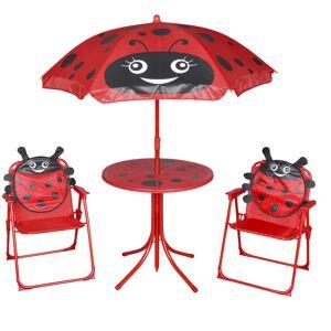 vidaXL Hagegruppe til barn med parasoll 3 deler rød