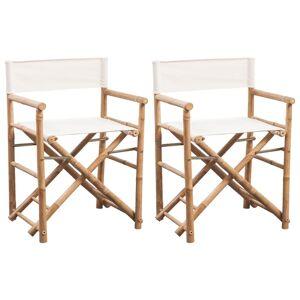 vidaXL Regissørstol 2 stk bambus og lerret sammenleggbar