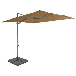 vidaXL Utendørs parasoll med bærbar base gråbrun