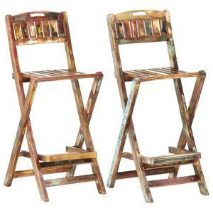 vidaXL Sammenleggbare barstoler 2 stk gjenvunnet heltre