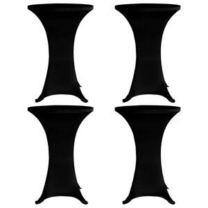 vidaXL Stående bordduk Ø80 cm svart strekk 4 stk