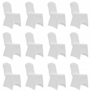 vidaXL Stoltrekk elastisk hvit 12 stk