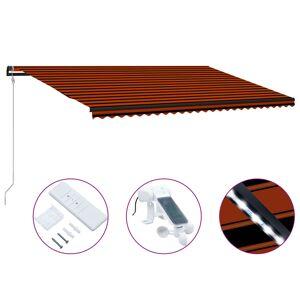 vidaXL Uttrekkbar markise med vindsensor LED 600x300cm oransje og brun