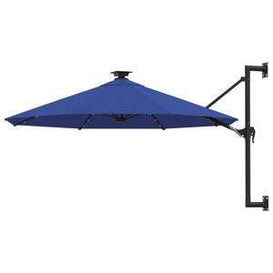 vidaXL Veggmontert parasoll med LED og metallstolpe 300 cm blå