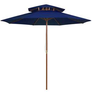 vidaXL Dobbel parasoll med trestang 270 cm blå