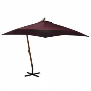 vidaXL Hengende parasoll med stolpe vinrød 3x3 m heltre gran