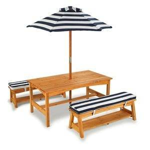 KidKraft Outdoor Table & Bench Set with Cushions & Umbrella in Navy & White Stripes