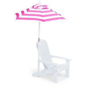 Woodlii Strandstol Med Parasoll, Rosa/Hvit