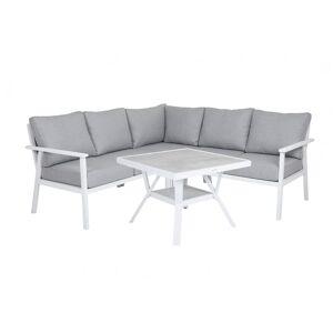 Brafab Samvaro soffgrupp Vit med grå dyna 2st 2-sitsavslut, hörn & bord 90x90 cm