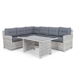 Selected Exclusive Malaga soffgrupp Vit/grå med grå dyna 3-sitsoffa, 3-sitsavslut & bord 140x80 cm