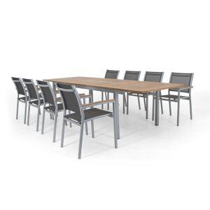 Selected Exclusive Twin matgrupp Vit/vit med teak 8 karmstolar & bord 200-300x100 cm