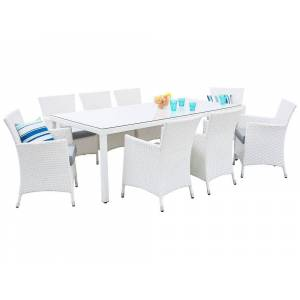Beliani Trädgårdsmöbelset av bord och 8 stolar konstrotting ITALY