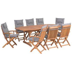 Beliani Trädgårdsmöbelset av bord och 8 stolar med dynor i grå MAUI