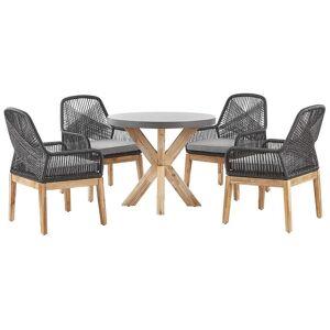 Beliani Trädgårdsmöbelset av runt bord och 4 stolar svart/grå OLBIA