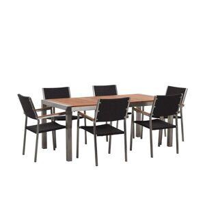 Beliani Trädgårdsmöbelset av bord och 6 stolar eukalyptusträ/rotting GROSSETO