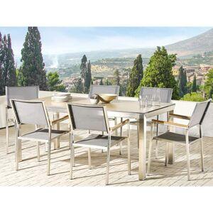 Beliani Trädgårdsmöbelset av bord och 6 stolar brun/grå GROSSETO