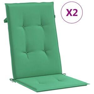 vidaXL Stolsdynor för trädgården 2 st 120x50x4 cm grön