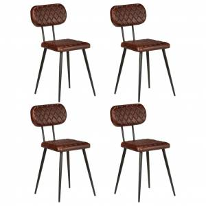 vidaXL Matstolar 4 st brun äkta läder