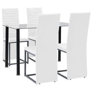 vidaXL Matgrupp 5 delar stål och härdat glas svart och vit