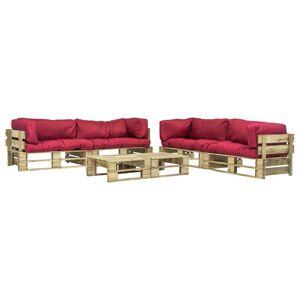 vidaXL Pallsoffa med dynor 6 delar trä röd