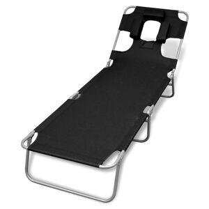 vidaXL Hopfällbar solsäng med huvudkudde pulverlackerat stål svart