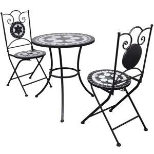 vidaXL Caféset 3 delar keramik svart och vit