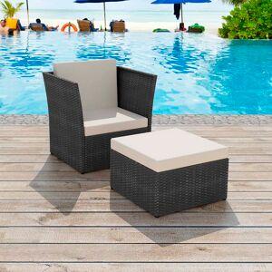 vidaXL Trädgårdsstol med pall konstrotting svart