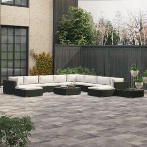 vidaXL Loungegrupp för trädgården m. dynor 12 delar konstrotting svart