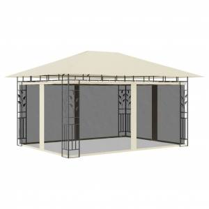 vidaXL Paviljong med myggnät 4x3x2,73 m gräddvit 180 g/m²
